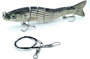Hellboy Wobbler Swimbait Kunstköder (13cm, 27,5g) + Stahlvorfach (30cm) Angeln