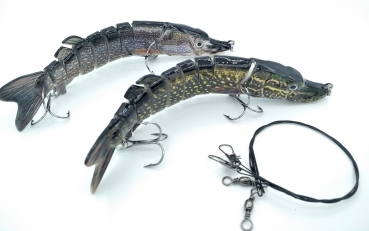 2 X Hecht Wobbler Swimbait Kunstköder SET (15,2cm, 26g) + Stahlvorfach (30cm)