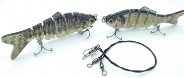 Barsch + Barbe Wobbler Swimbait Kunstköder SET (10,2 cm, 17g) + Stahlvorfach