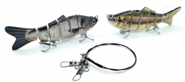 2 X Wobbler Swimbait Kunstköder SET (2 x 10,2cm, 17g) + Stahlvorfach (30cm)