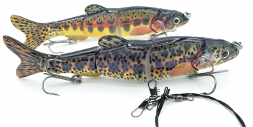2 x Forellen Wobbler Swimbait Kunstköder SET (2 x 16,5cm, 38g) + Stahlvorfach